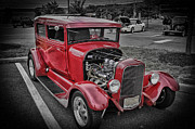 New Car Posters - HDR Red Hot Rod Vintage Classic Car Cars Photos Pictures Photography Cool Pics Photo Picture New Pic Poster by Pictures HDR