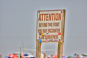 Beaches Prints - HDR Sunbather Sign Beach Beaches Ocean Sea Photos Pictures Buy Sell Selling New Photography Pics  Print by Pictures HDR