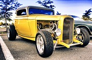 Buy Sell Photo Posters - HDR Yellow Hot Rod Car Cars Auto Buy Sell Selling Photos Pictures Classic Old School Art New Cool  Poster by Pictures HDR