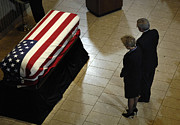 Casket Prints - He Casket Of Former President Gerald R Print by Stocktrek Images