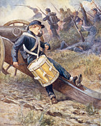 Soldier Paintings - He crawled behind a cannon and pale and paler grew by William Henry Charles Groome