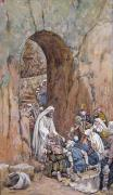 Kneeling Prints - He did no Miracles Save that He Healed Them Print by Tissot