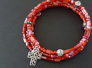 Red Beads Jewelry - He died for my sins by Joan  Jones