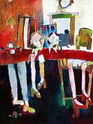   Of Pianos Paintings - He Hasnt Got A Leg To Stand On by Roger Phillpot