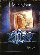 Bible Pastels Posters - He Is Risen Poster by Susan Jenkins