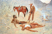 Remington Painting Prints - He Lay Where he had Been Jerked Still as a Log  Print by Frederic Remington