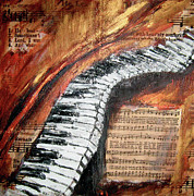 Music Score Paintings - He Leadeth Me by Lyn Deutsch