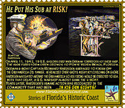 Ww Ii Mixed Media Framed Prints - He Put His Sub at Risk Framed Print by Warren Clark