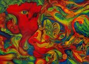 Swirls Paintings - He Saw Her by Karen Musick