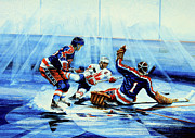 Hockey Prints Paintings - He Shoots by Hanne Lore Koehler