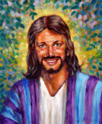 Smiling Jesus Painting Originals - He Smiles by John Lautermilch