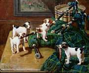 Puppies Playing Posters - He Who Pays the Piper Calls the Tune Poster by John Hayes