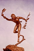 Western Sculpture Metal Prints - He Who Saved the Deer - Native American Youth detail Metal Print by Dawn Senior-Trask and Willoughby Senior