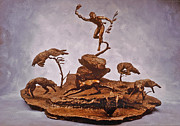 Western Sculpture Metal Prints - He Who Saved the Deer complete Metal Print by Dawn Senior-Trask and Willoughby Senior