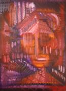 Pallet Knife Prints - Head 4 Print by Michael Kulick