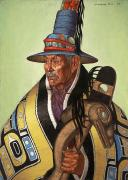 Native American Leaders Framed Prints - Head Chief Of The Tlingit Holds Framed Print by W. Langdon Kihn
