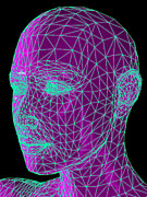 Face Recognition Art - Head Contour Map, Art by Laguna Design