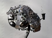 Science Fiction Sculptures - Head Full of Noise by Chris Woodman