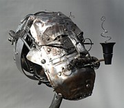 Rust Sculptures - Head Full of Noise- View 2 by Chris Woodman