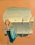 Head In Wind Surrealistic Frame Boards Tree And Hair Waving In Wind Beige Blue Grey Print by Rachel Hershkovitz