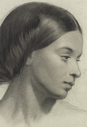 Etching Paintings - Head of a Girl by Anonymous