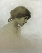 Female Face Drawings - Head of a Girl  by Franz Dvorak