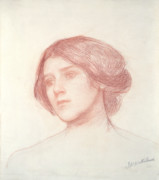 Signed Drawings - Head of a Girl by John William Waterhouse