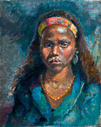 African American Women Paintings - Head of a Woman by Ellen Dreibelbis