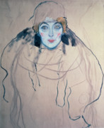 Head Drawings Posters - Head of a Woman Poster by Gustav Klimt