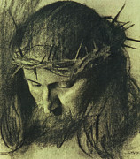 Study. Pastels Prints - Head of Christ Print by Franz Von Stuck
