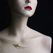 Red Lipstick Art - Head of dummy by Bernard Jaubert