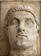 Art Sculptures Photos - Head of Emperor Constantine. Rome. Italy by Bernard Jaubert