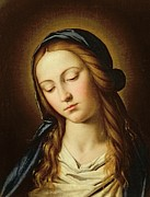 Devotional Paintings - Head of the Madonna by Il Sassoferrato