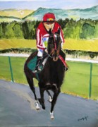 Race Drawings Originals - Head of the Stretch by Judy Kay