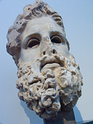 Archaic Posters - Head Of Zeus At The Acropolis Museum Poster by Richard Nowitz