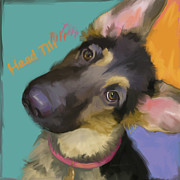 Bright Art Of Dogs Prints - Head Tilt Print by Laurie Cook