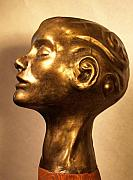 Figurative Sculpture Posters - Head with swirls view 1 Poster by Katherine Howard