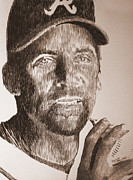 Atlanta Braves Drawings - Headed for the Hall by Robbi  Musser