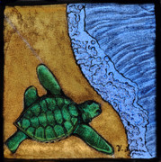 Reptiles Glass Art Posters - Headed out to sea Poster by Valerie Lynn
