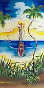Haitian Painting Framed Prints - Headed to Shore Framed Print by Herold Alvares