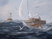 Stormy Weather Paintings - Headin In by Gary Partin