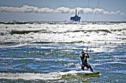 Kite Surfing Metal Prints - Heading Back Out Metal Print by Gwyn Newcombe