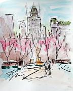 New York City Drawings Posters - Heading back to The Plaza Poster by Chris Coyne