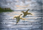 Waterfowl Paintings - Heading for Cover by Ruth Bares