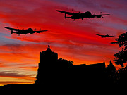 Lancasters Posters - Heading For The Dams Poster by Peter Chapman