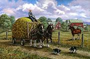 Hay Wagon Framed Prints - Heading for the Loft Framed Print by Richard De Wolfe
