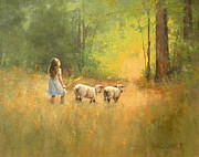 Tending Sheep Prints - Heading Home Print by J M Brodrick