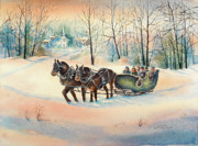 New England Snow Scene Painting Posters - Heading Home Poster by Kathleen Berry Bergeron
