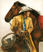Cowboy Paintings - Heading Out Into the Storm by Pat Erickson