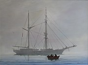Masted Ship Paintings - Heading to Shore by George E Lee